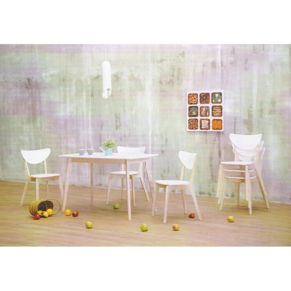 Solid Wood 1 Dining Table + 6 Dining Chairs Set Dining Set  (White Color) L1500mm x W900mm x H740mm