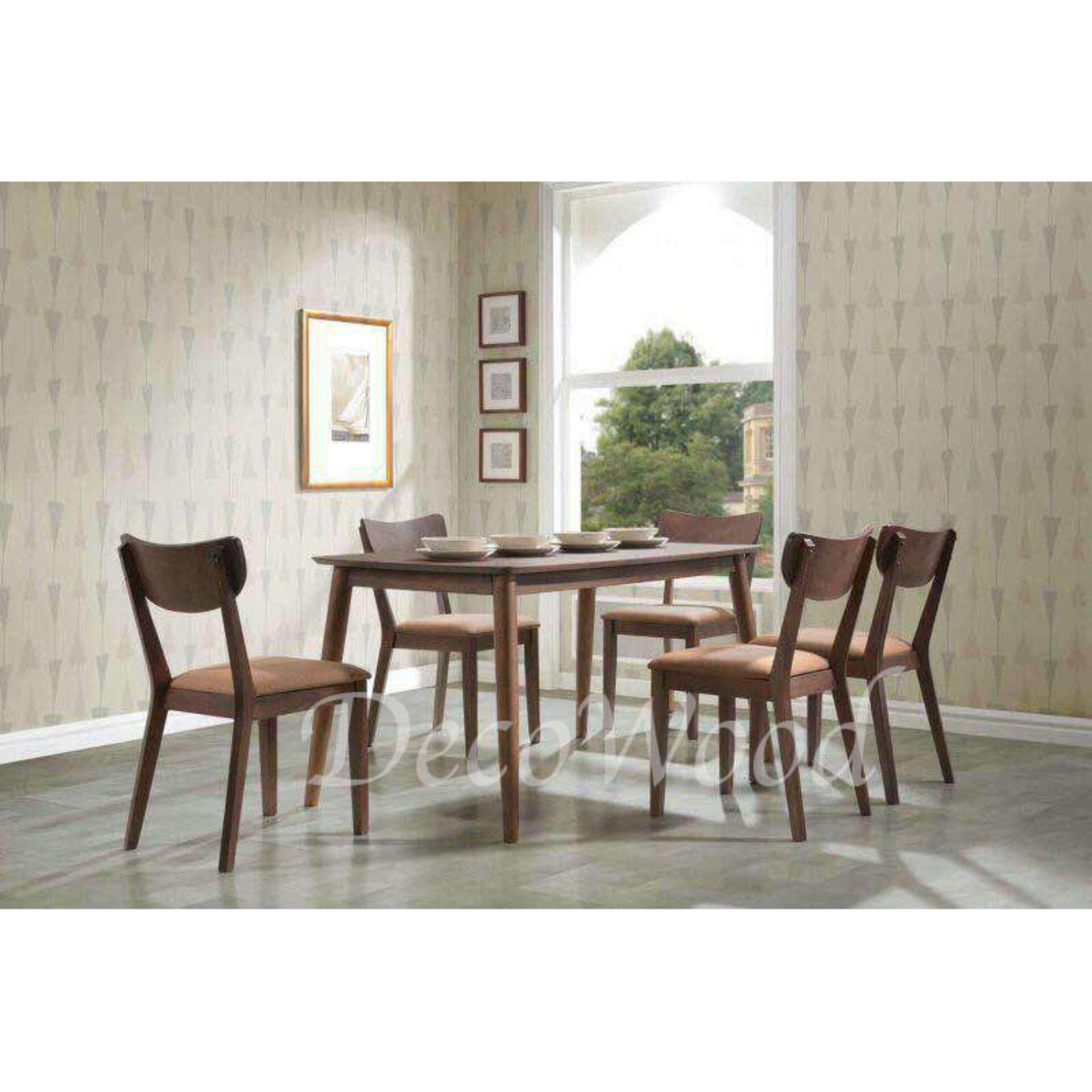 Solid Wood 1+6 Dining Table Cushion Chair Dining Set (Brown Color) L1500MM X W900MM X H750MM Pre Order 2 Week
