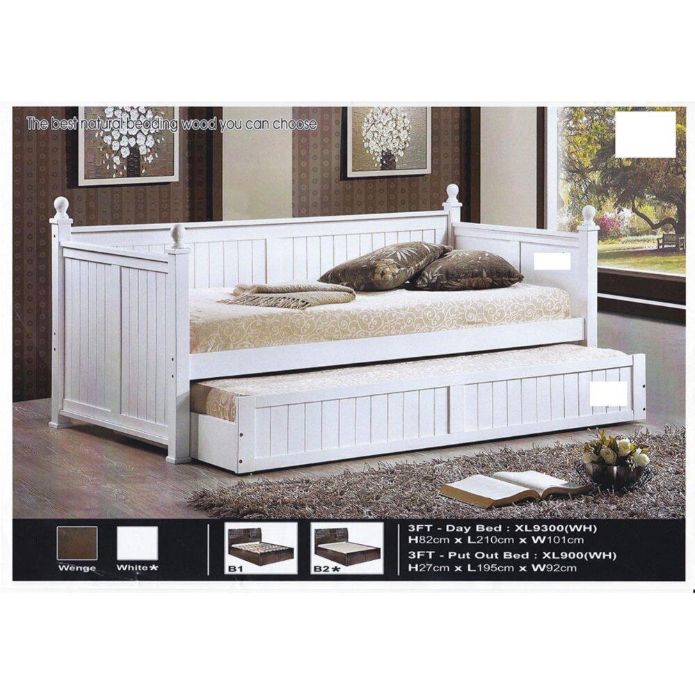 Solid Wood Strong Day-Bed Single Size Wooden Bed With Drawers L2000MM X W980MM X H800MM