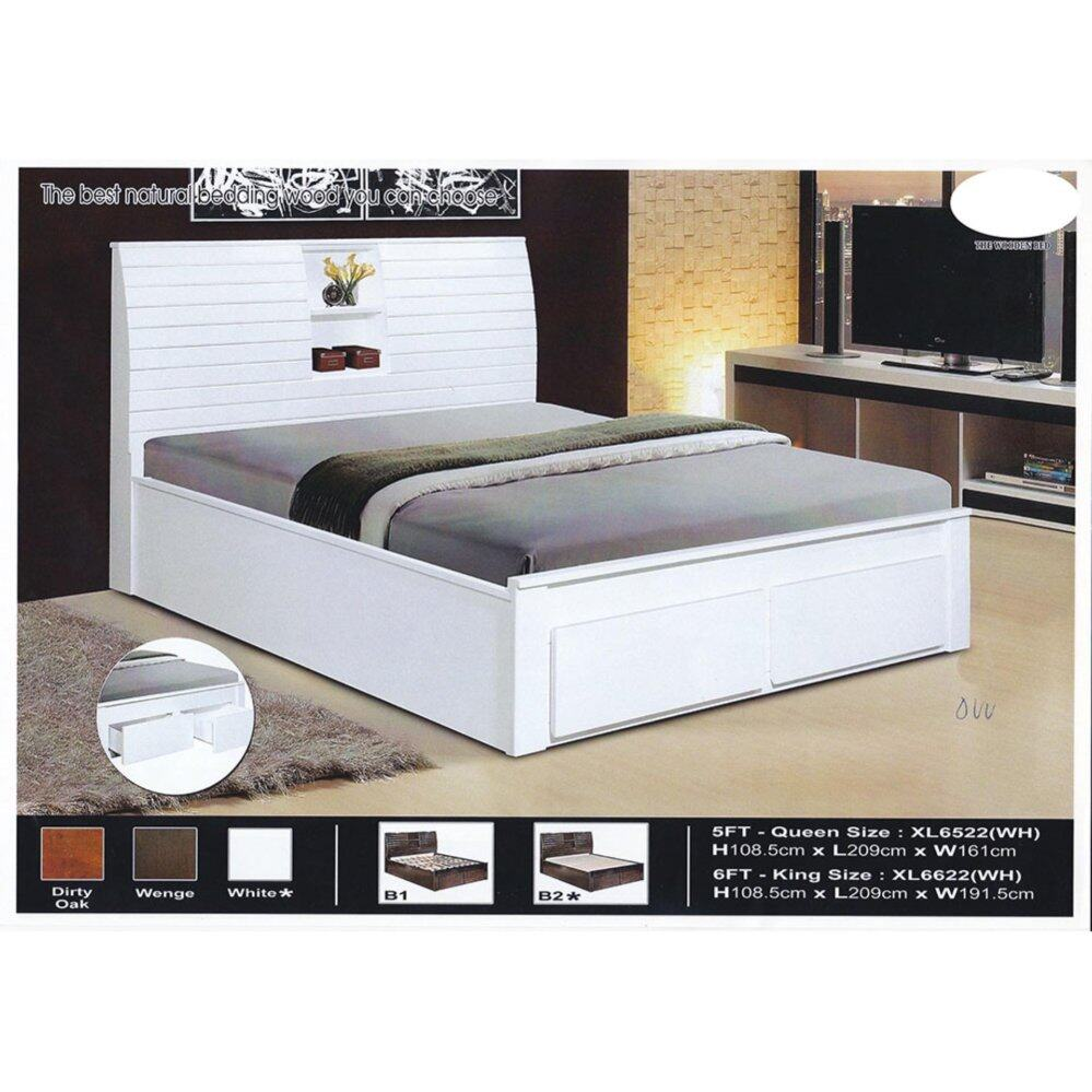 Solid Wood Wooden Bed Frame With Headboard Storage 2 Storage Drawers L2150mm X W1610mm X H1085mm Pre Order 2 Week