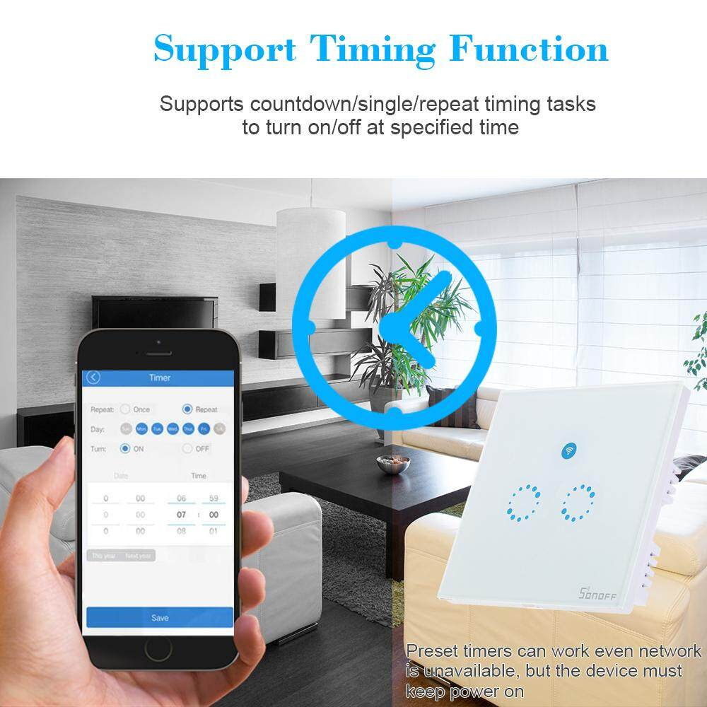 Sale Sonoff T1 2 Gang Smart Wifi Wall Light Switch Rf Singapore ...