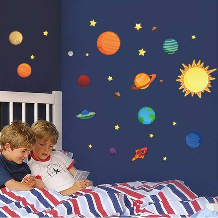 Mimosifolia Space Universe Planet Wall Sticker Decal Wallpaper PVC Mural Art House Decoration Home Picture Wall Paper for Adult Kids 30X90