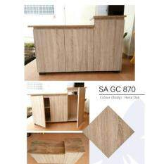 Kitchen Z Gas Cabinet SAGC870 Solid Board with Mosaic Tile Table Top - Oak