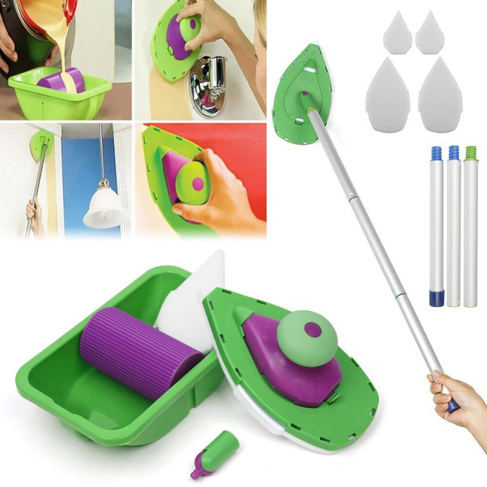 Sponge Wall Paint Roller Tray Brush Tool Painting Brush Triangle Roller Tray Multifunction Home Decoration Set Kit Household - intl
