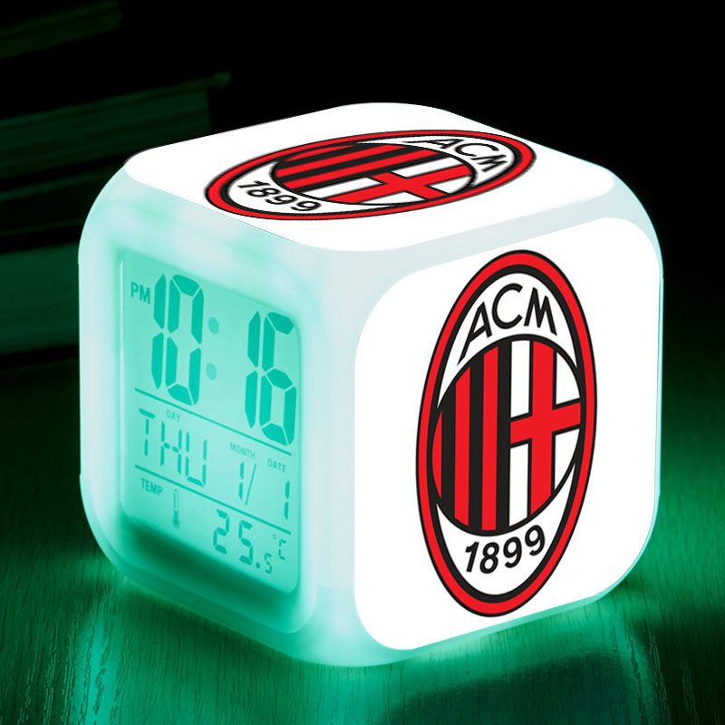 Sport Club AC Milan reloj despertador Associazione Calcio Milan LED alarm clock Snoozing Digital clock reveil projection Watch - intl
