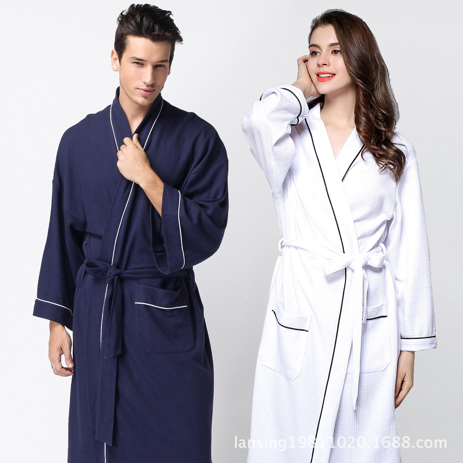 f4a2e39c99 Spring couple waffle robe Soft Cotton Bathrobe nightgown with fat XL Spa -  intl