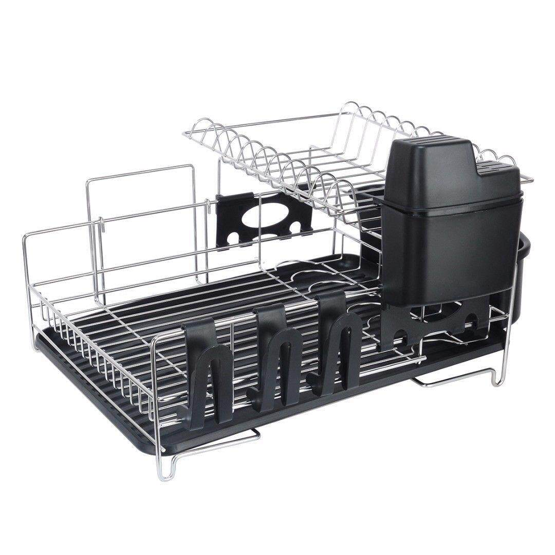 Stainless Steel 2 Tier Dish Rack Drainer Kitchen Plate Cutlery Drying Tray Intl Discount Code