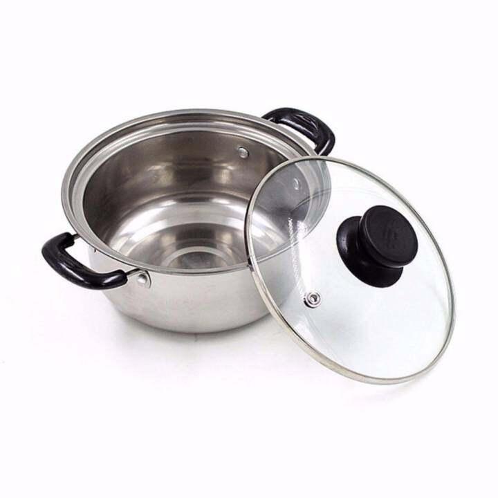 Stainless Steel Cookware Cook Saucepan Stew Soup Pot Steamer Induction Gas (20cm)