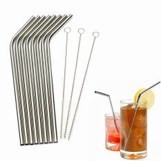 Stainless Steel Metal Drinking Straw Reusable Straws + Cleaner Brush Kit Silver- By Wearesurewin.