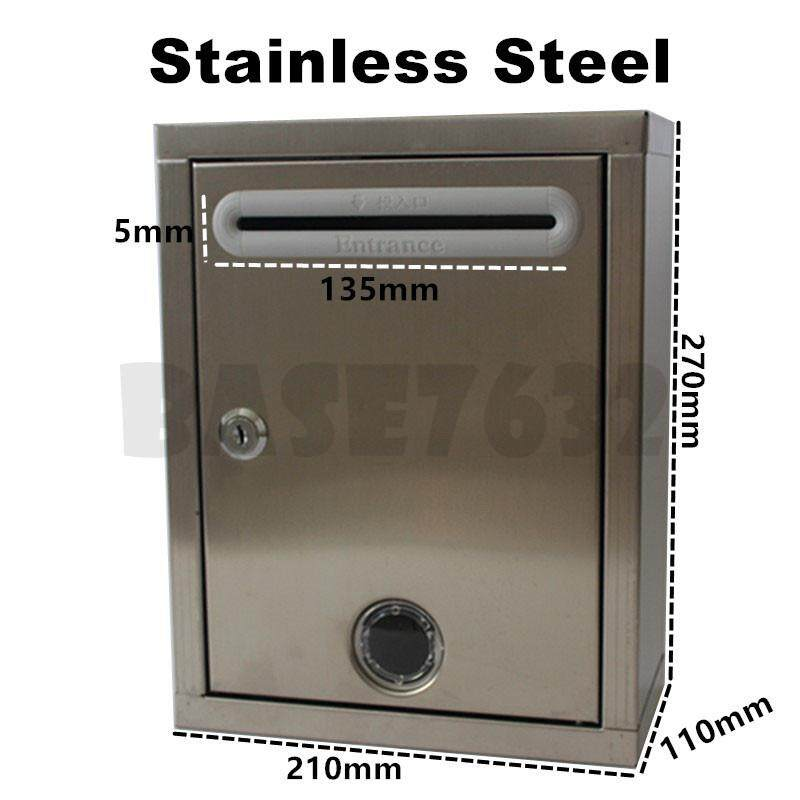 Stainless Steel Suggestion Box Letter Complaint Box w/ windows 1987.1
