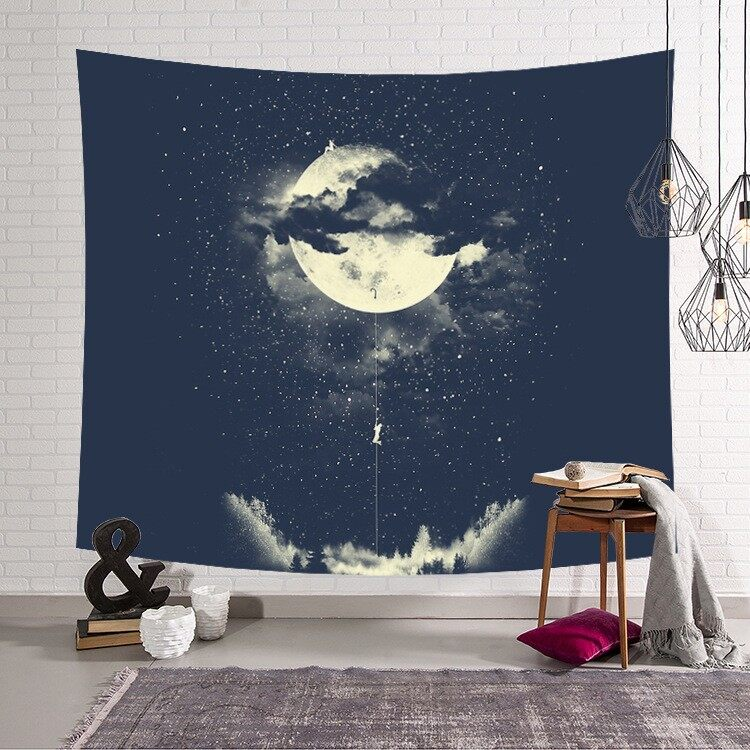 Starry Sky and Moon Tapestry Wall Hanging Carpet Beach Towel Blanket Yoga Mat Bohemian 150*130cm - intl