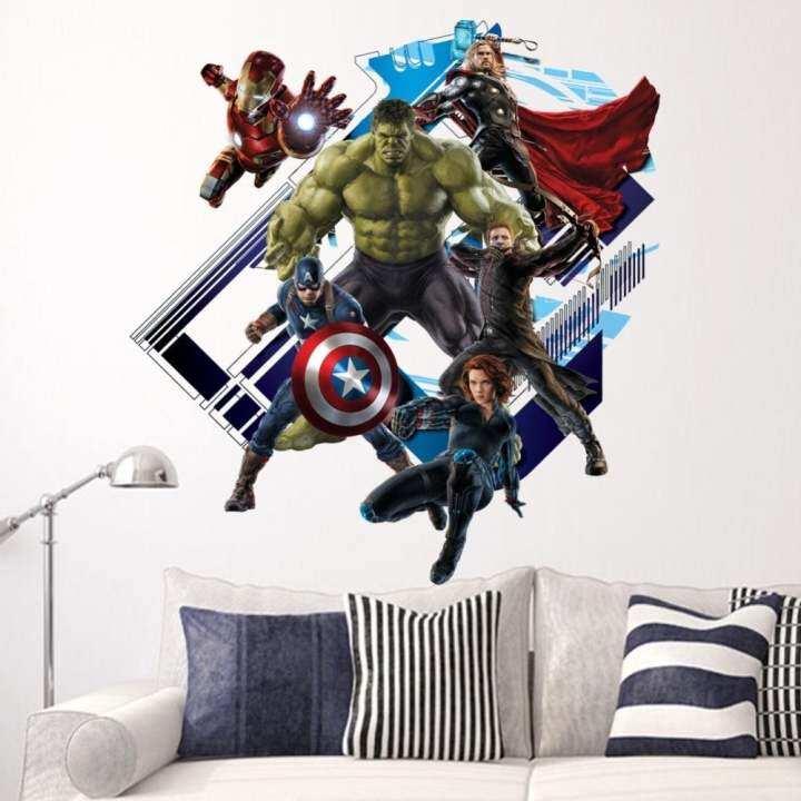 Super Hero Avengers Hulk Peel and Stick Wall Sticker Kids Room Stickers Cartoon Decals Home Decor Wallpaper Poster