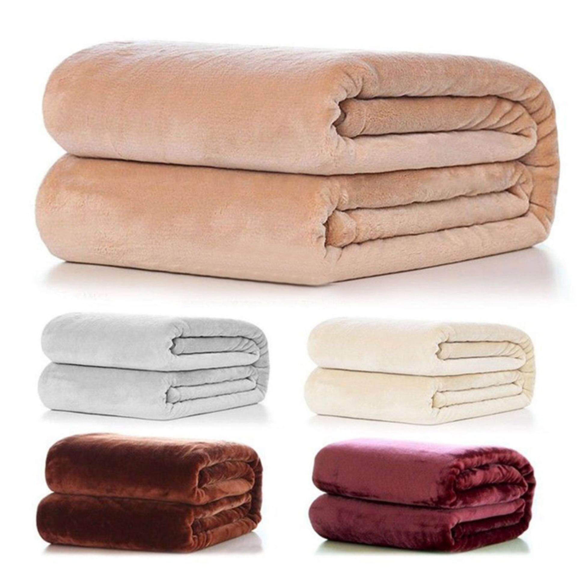 Super Soft Warm Solid Warm Micro Plush Fleece Blanket Throw Rug Sofa Bedding 50*70cm - intl