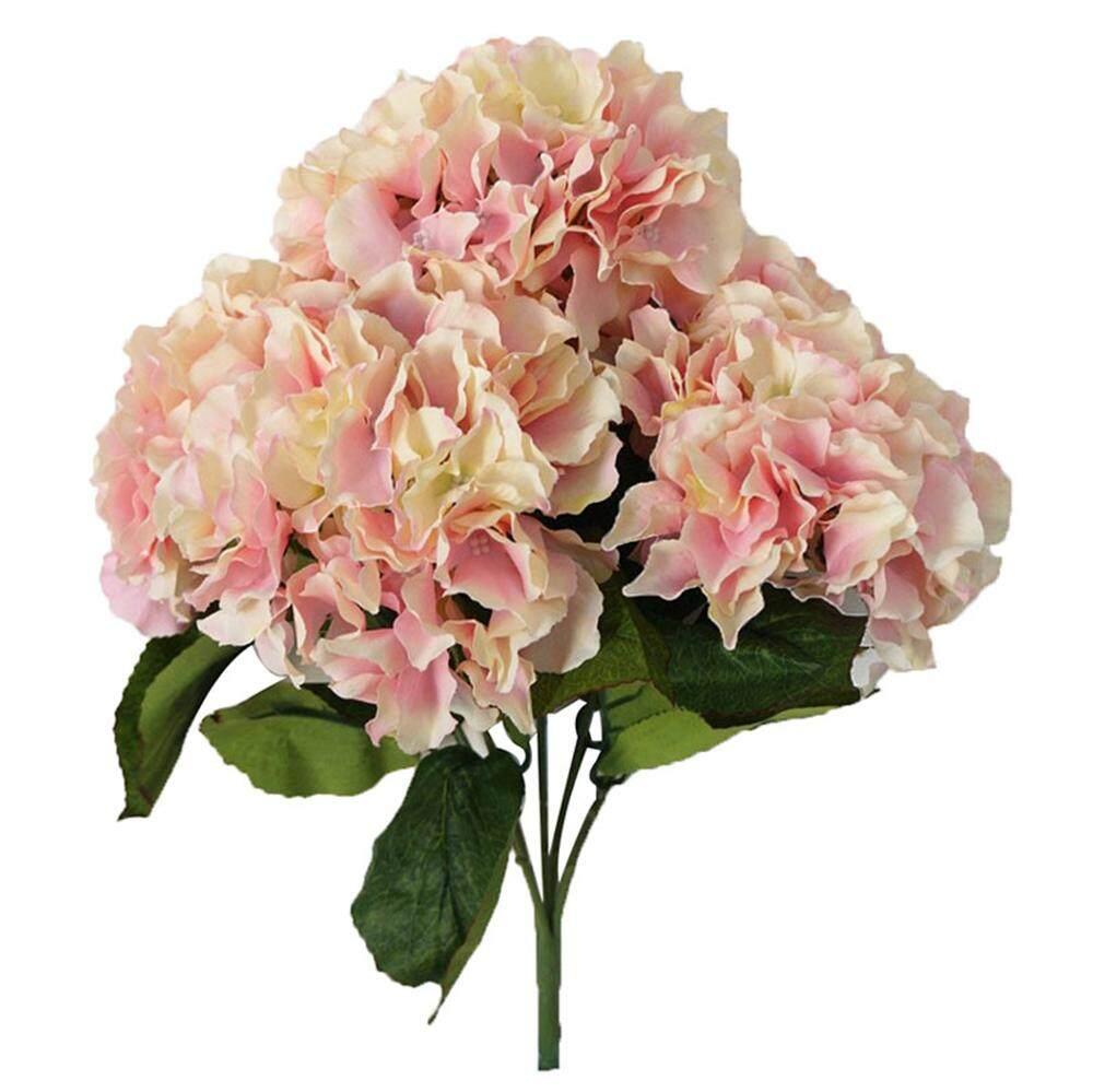 svoovs Artificial Hydrangea Flower 5 Big Heads Bounquet Home Party Wedding Decor(Pink) - intl