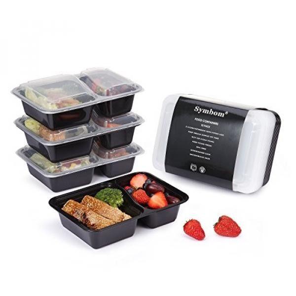 Symbom Symbom 2 Kompartemen BPA-Gratis Microwave Yang Dapat Digunakan Ulang Kotak Makan Kotak Makan Siang dengan Tutup, penyimpan Makanan dan Porsi Kontrol untuk 21 Day Fix 30 Ons 10 Pack-Intl