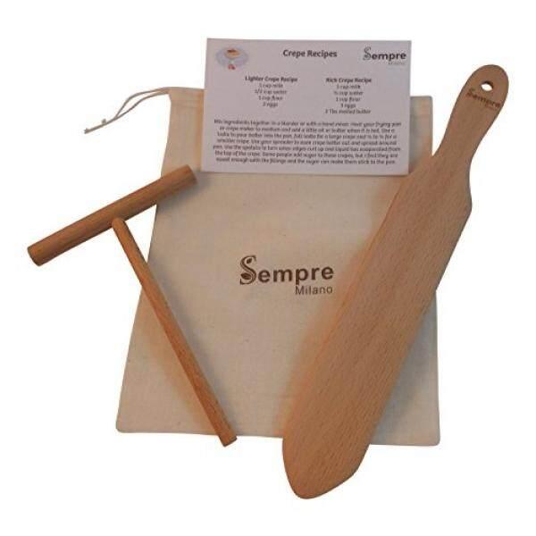 Asli Crepe Spreader dan Spatula Set (5 Inch Spreader dan 13 Inch Spatula) dengan Tas Penyimpanan dan Kartu Resep Alami Pohon Beechwood Oleh Semper-Internasional