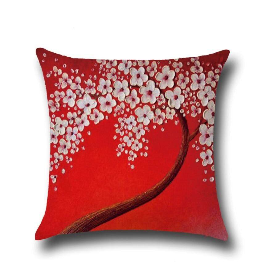 The Three-Dimensional Painting Trees Flowers Cotton Pillowcases Hold Car Waist Cushion Protector By Mitutoyo.