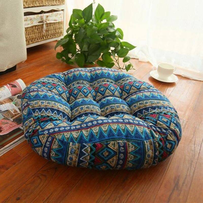 Yika Thick Cotton Chair Cushions Bohemia Simple Style Colorful Seat Cushion Round Floor Cushion Pad Home Office 45x45cm