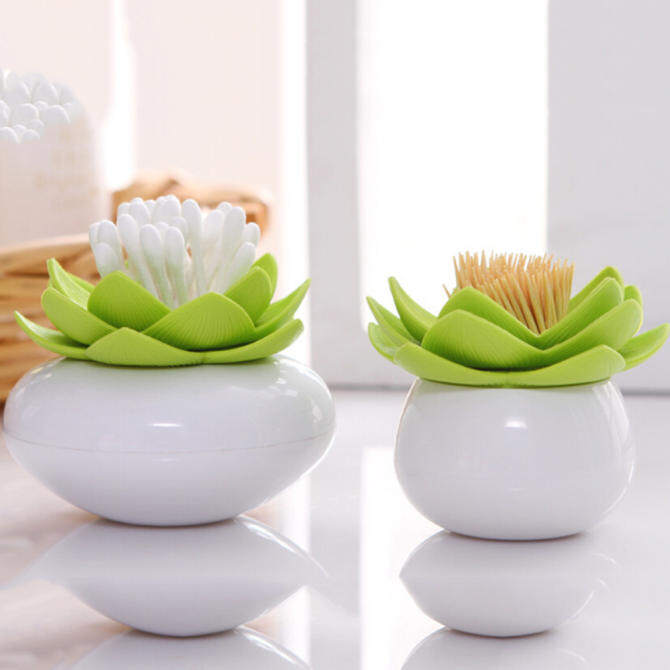 Toothpick Lotus Cotton Bud Stick Swab Makeup Storage Box Holder Bud Container Cup Decor Green 84x84x81mm - intl