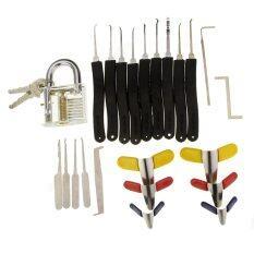 Transparent Slotted Practice Padlock + 9-Piece Lock Picks + Padlock Shims + Single Hook Lock Pick