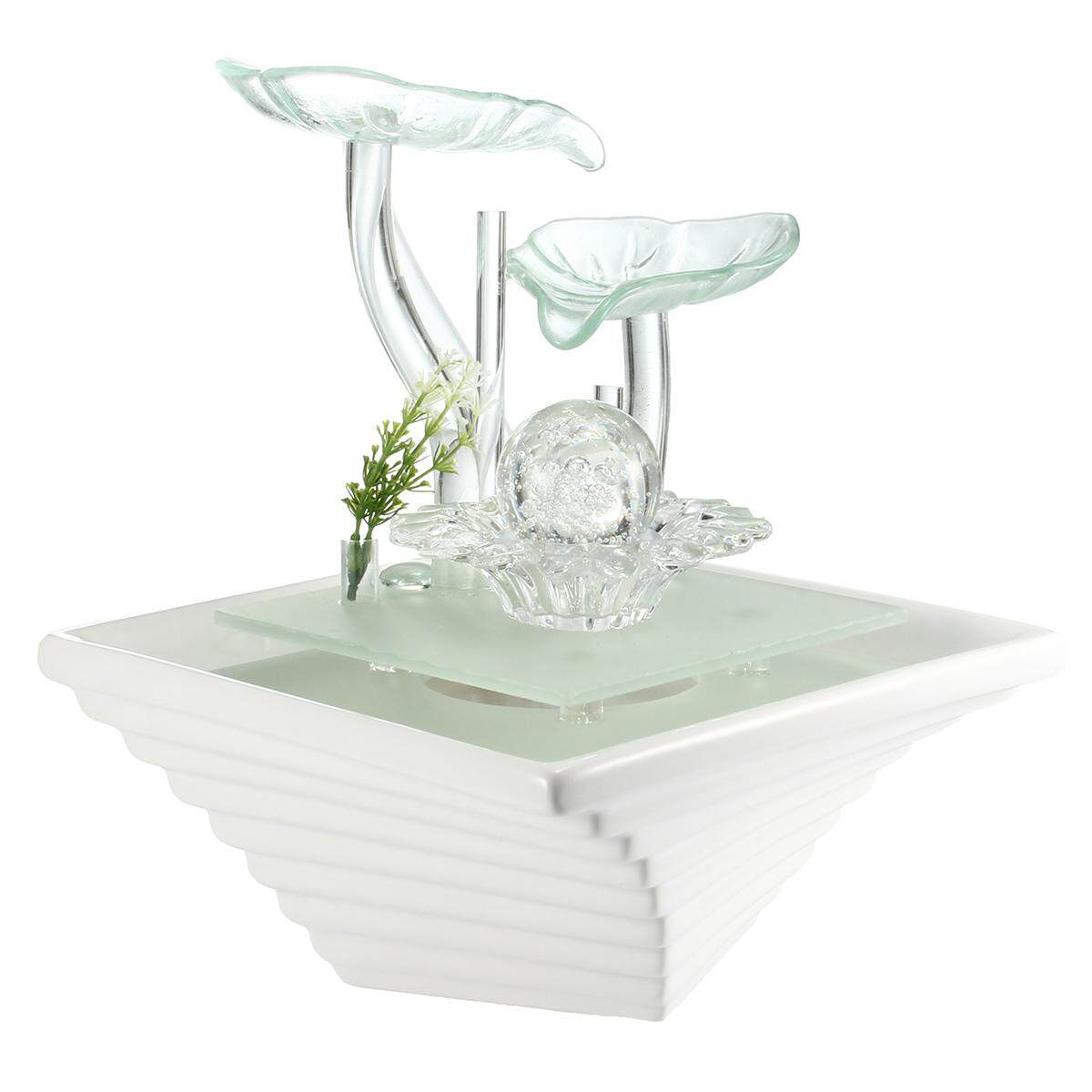 Turquoise petals Small indoor / Outdoor table top Water fountain water feature - intl