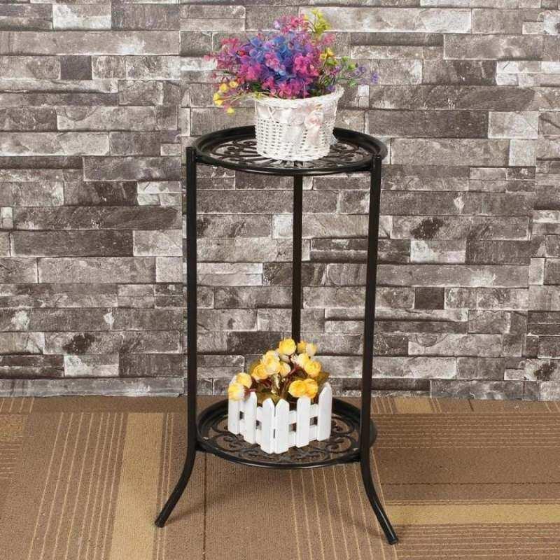 Catwalk Two-layer Elegant Metal Plant Stand Shelf Flower Pot Rack Holder Black