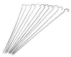 Umiwe 15 Inch Barbecue Skewers, 10 Pcs Stainless Steel BBQ Shish Kabob Set, Kabob Skewers For Meat, Chicken , Mushroom, Fruits And Vegetables For Your BBQ PARTY