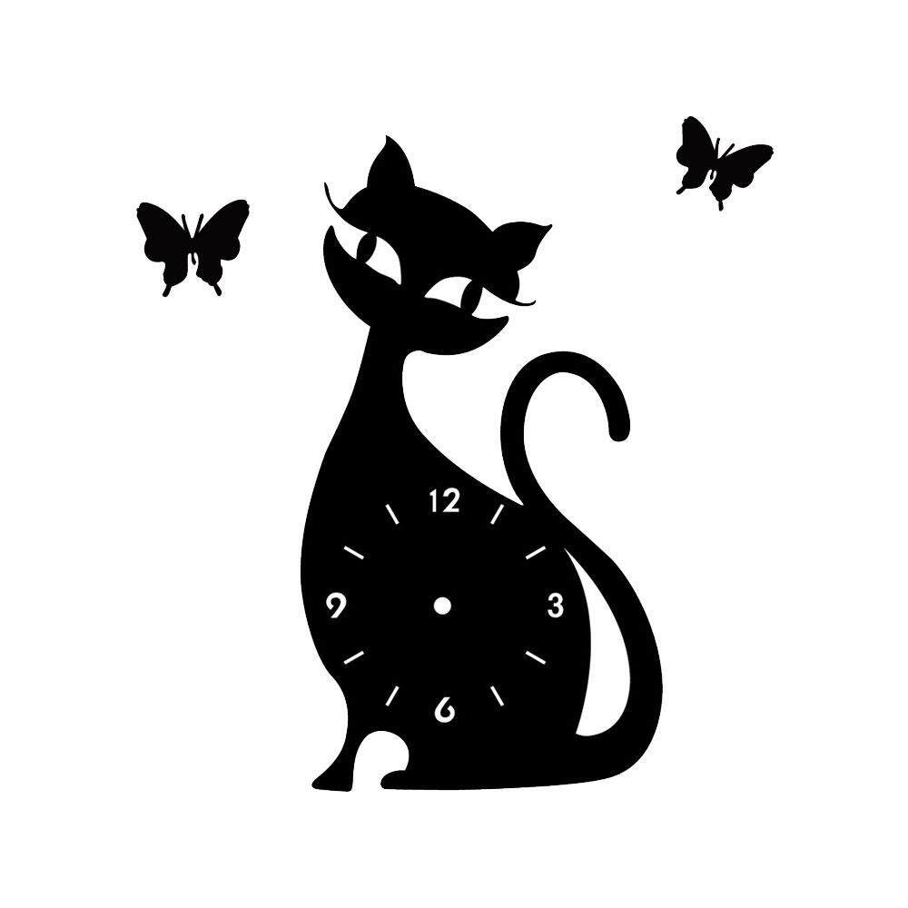 Umiwe New Trendy 3d Diy 4 Colors Wall Decals Stickers Cat Butterfly Shaped Living Room Home Interior Deco Wall Clock - intl