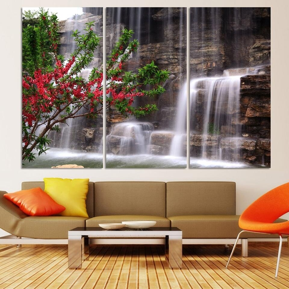Unframed 3 Piece HD Picture Canvas Print Painting For Living Room Decor Green Waterfall Modern Wall Art Landscape