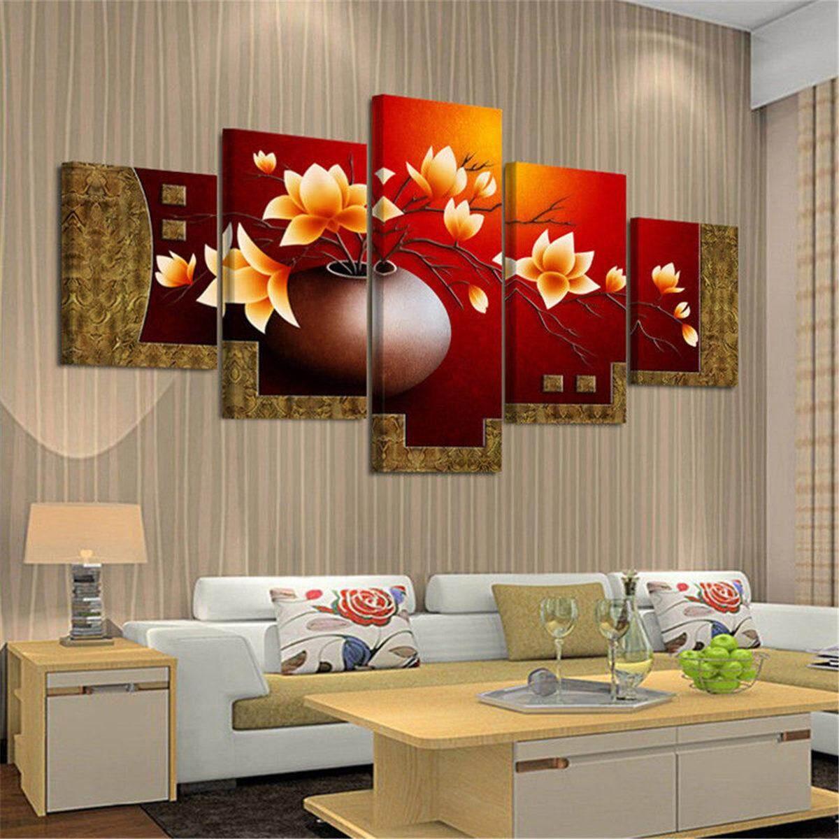 Unframed 5 Piece Gambar Vas Bunga Kanvas Seni Cetak Minyak Lukisan Dinding Gambar untuk Ruang Tamu