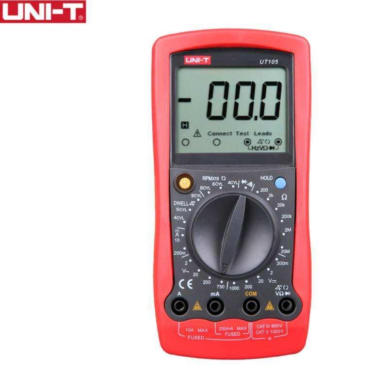 UNI-T UT105 Handheld Automotive Serbaguna Meter Rentang Manual Multimeter Masukan Protectionac DC Dioda Test-Internasional