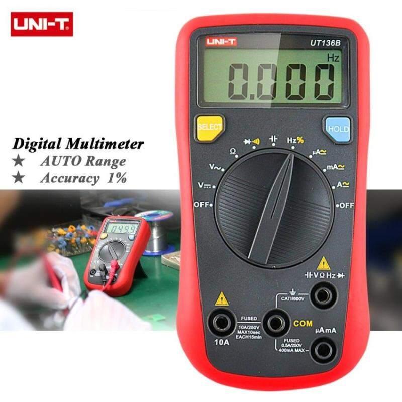 UNI-T UT136B Multimeter Digital Auto Range Tester AC DC Voltagecurrent Diode Ohm Cap Hz Jenis Pengukuran untuk Biasa Tes-Intl