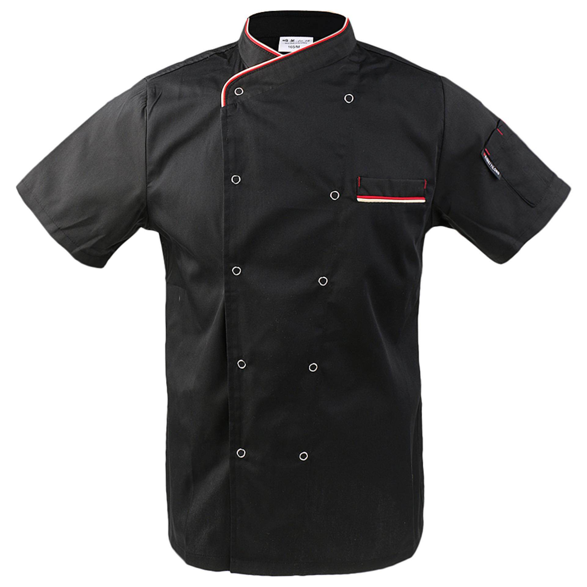Unisex Short Sleeve Chef Jacket Coat Restaurant Cook Uniform L Black - Intl By Bolehdeals.