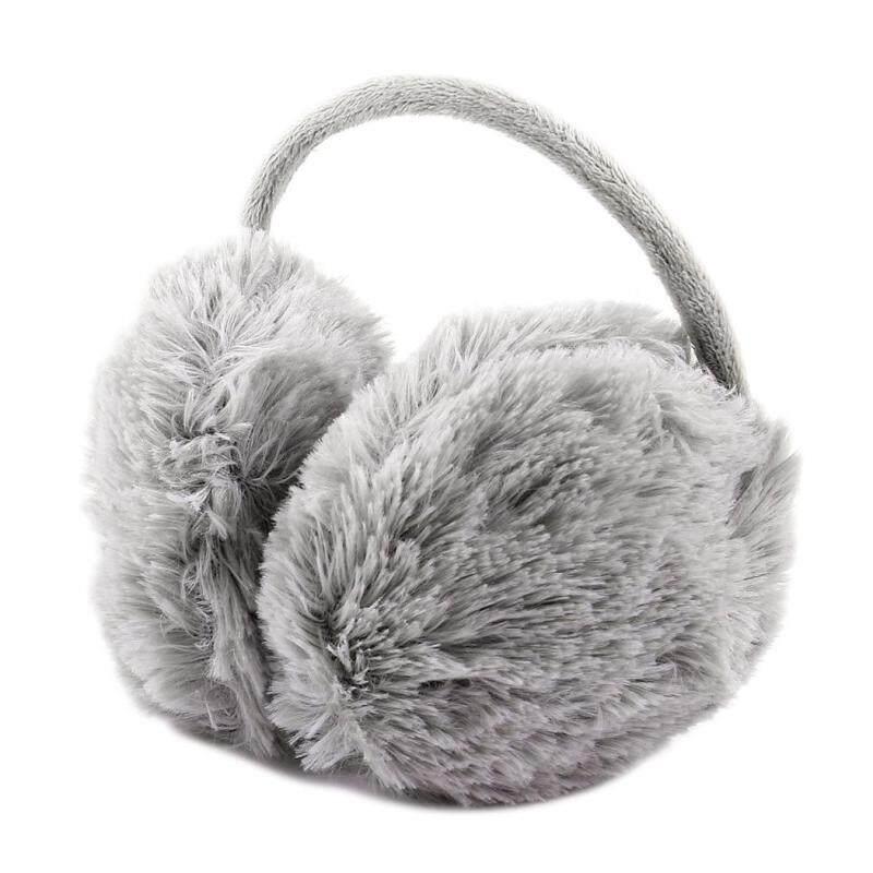 Unisex Winter Headband Fluffy Faux Fur Ear Pad Back Earmuffs (Gray) (Intl)