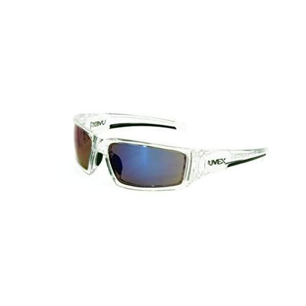 UVEX dengan Honeywell S2975 Hyper SHOCK Seri Kacamata Pengaman dengan Es Bening Bingkai Biru Cermin Lensa dan Keras Lensa Lapisan Coating-Intl