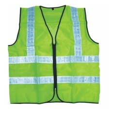 [CORATED] Velco Thin Reflective Zipper Safety Vest Coat (Neon Green)