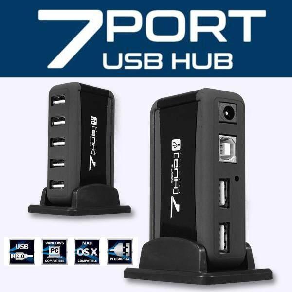 Dọc 7 Cổng USB 2.0 Hub Tốc Độ Cao + Bộ Chuyển Đổi Nguồn AC Cho Raspberry Pi PC EU PLUS - EU PLUS