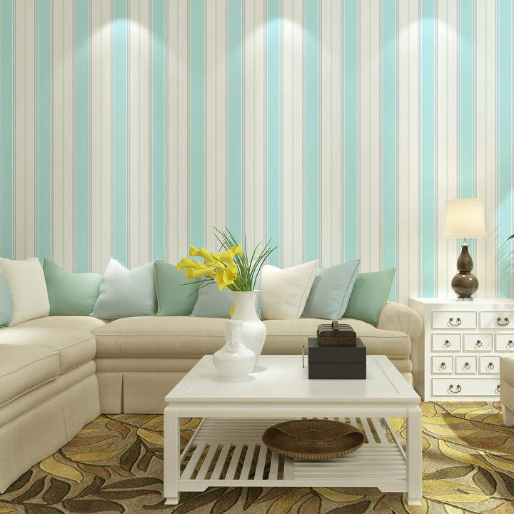Vertical stripes imported non-woven wallpaper modern minimalist living room bedroom den American pure paper wallpaper light blue