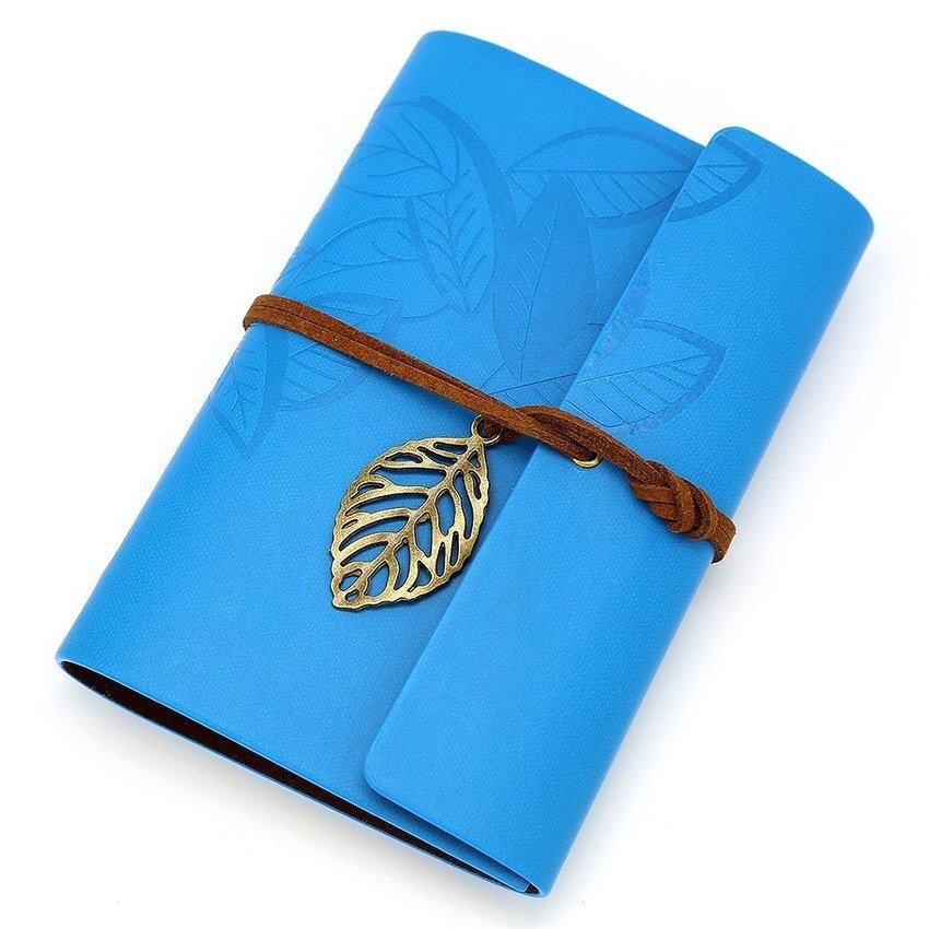 Mua Vintage Style Pu Leather Cover Loose Leaf Blank Notebook Journaldiary Gift Blue - intl