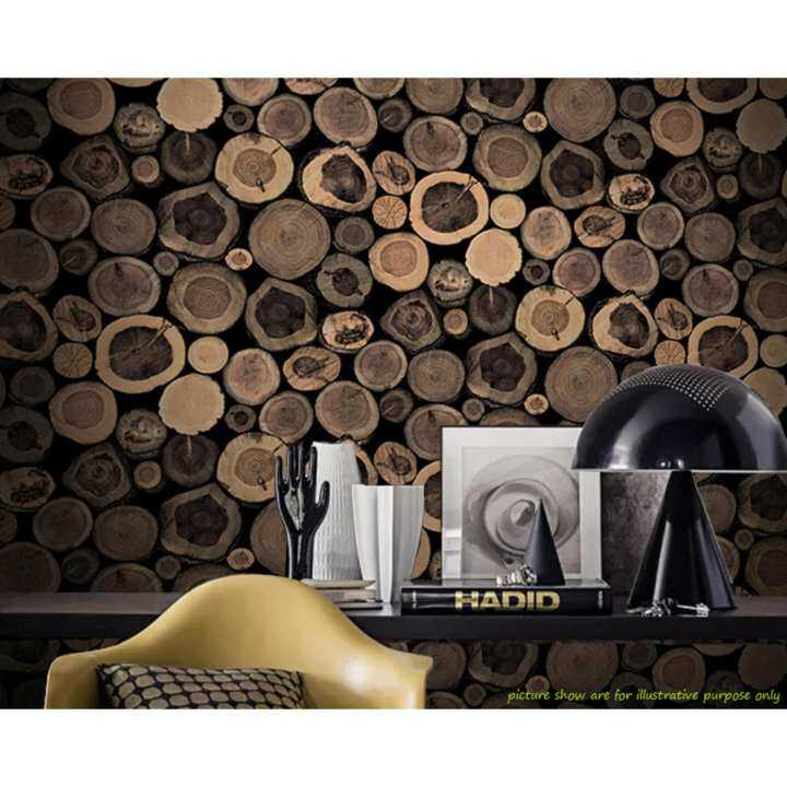 Charm of the Nordic style retro personality imitation wood wallpaper living room background wall clothing store cafe Internet cafes wallpaper