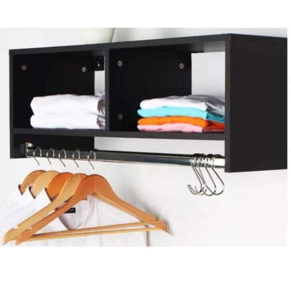 Wall Mounted 2 Cube Open Cabinet With A Steel Hanger Design E Black