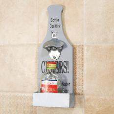 Wall Mounted Bottle Opener With Bottle Top Catcher Beer Home Kitchen Bar Retro Grey