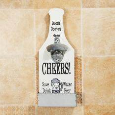 Wall Mounted Bottle Opener With Bottle Top Catcher Beer Home Kitchen Bar Retro White