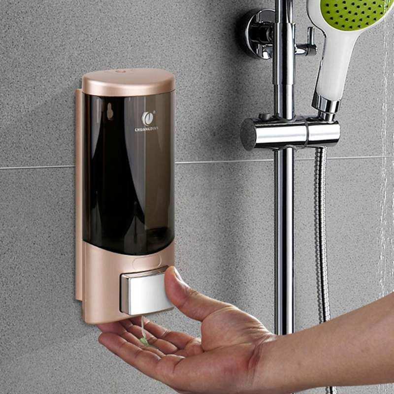 Yika Wall-mounted Single Bottle Manual Soap Dispenser Shampoo Box Rest Room Washroom Toilet Hand Washing Liquid Shampoo Shower Gel Machine Liquid Soap Dispenser Soap Dispenser & Holder 500ml
