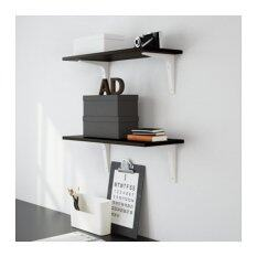 Wall Shelf Black Brown Complete With Brackets, 24x59 Cm By Home Planner.