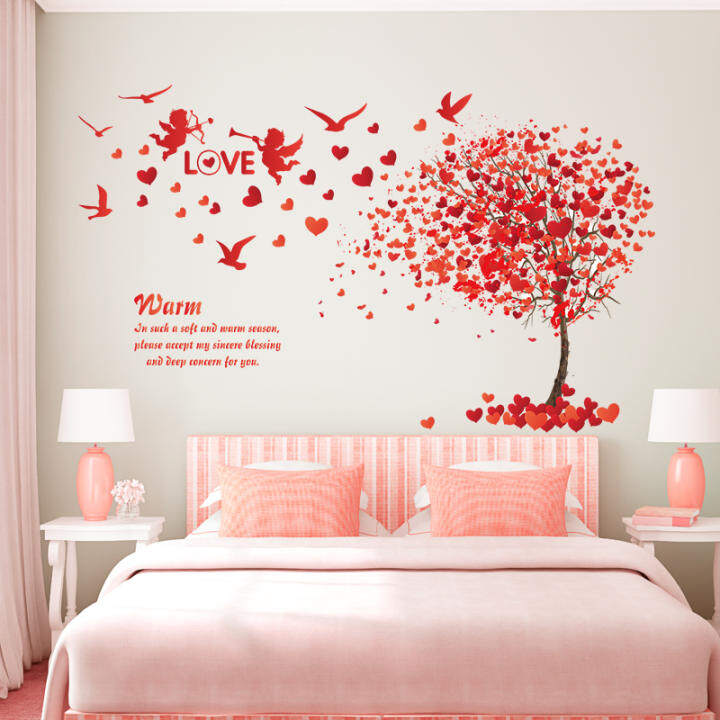 Wall stickers can be removed wallpaper self-adhesive bedroom bedside girl romantic pink love tree room wall stickers