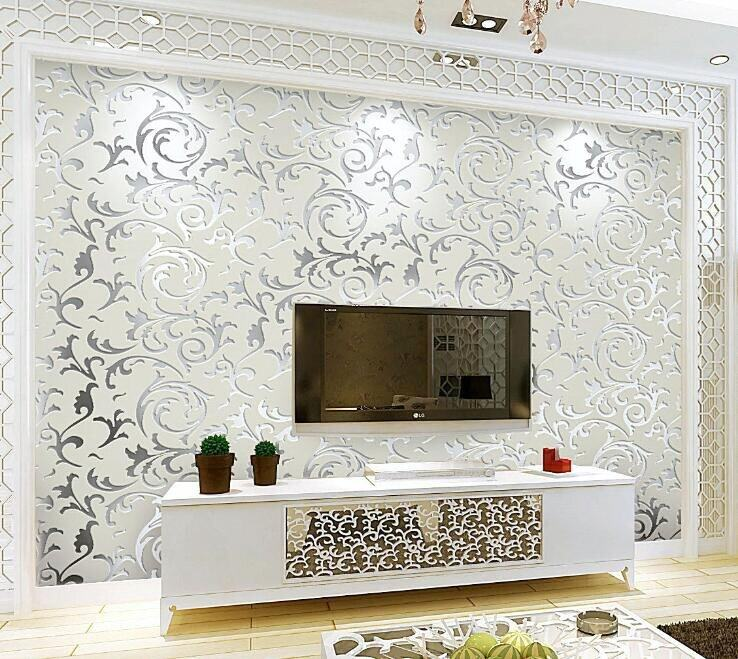 LONGER WIN Wallpaper Luxury Design Modern Metallic luster Mirror TV Wall Living Room Background Wall 3D Wall Paper Non-woven Wall Sticker for Home Decor 10m