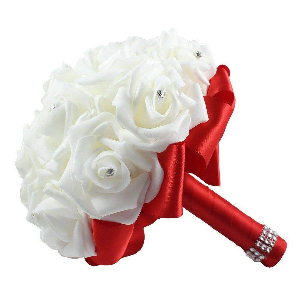 Wanxinkeji Bridal Wedding Bouquet Crystal Roses With Rhinestone Artificial Flowers (Purple) - intl