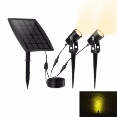 Waterproof IP65 Solar Powered Spotlight with 2 Warm White Lights for Outdoor/Garden/Courtyard/Lawn-Black