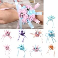 Wedding Wrist Flowers Bridesmaid Silk Rose Corsages Hand Flower Artificial Flowers for Wedding Decoration 9 Colors